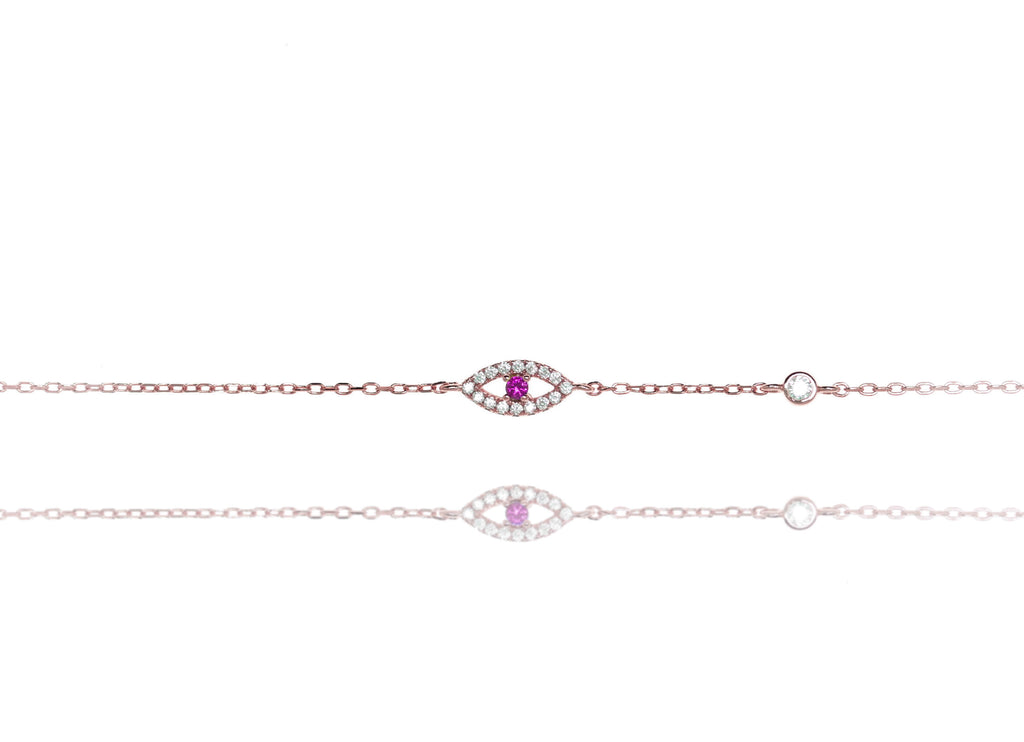 BF-10/RR - Evil Eye Chain Bracelet with a Red Centre Stone