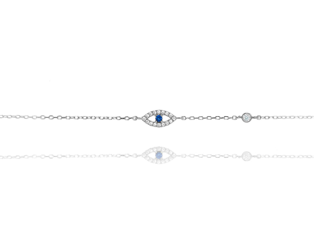 BF-10/SB - Evil Eye Chain Bracelet with a Blue Centre Stone