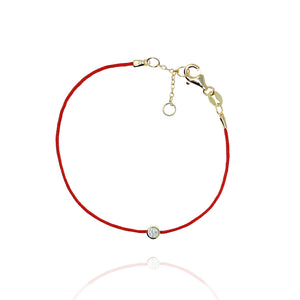BF-15/G - Red String Bracelet with Small CZ