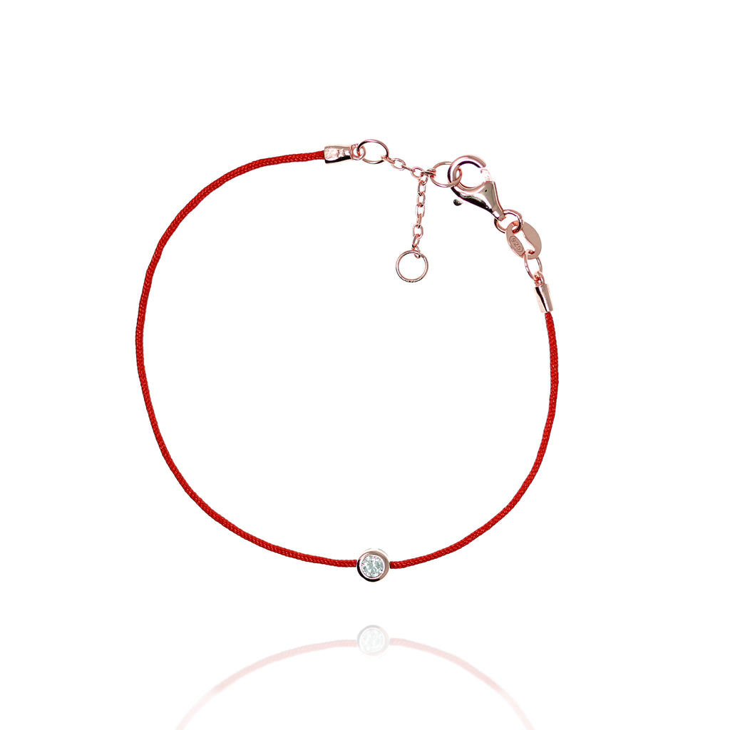BF-15/R - Red String Bracelet with Small CZ