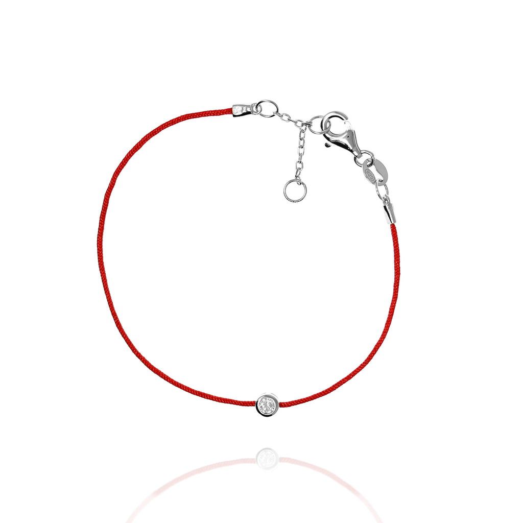 BF-15/S - Red String Bracelet with Small CZ