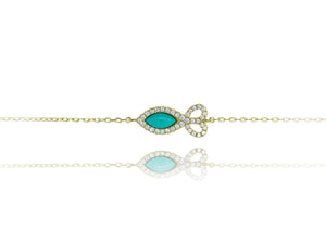 BF-5/G - Chain Bracelet with Fish Shaped Turquoise Stone