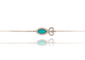 BF-5/R - Chain Bracelet with Fish Shaped Turquoise Stone