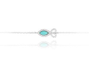 BF-5/S - Chain Bracelet with Fish Shaped Turquoise Stone
