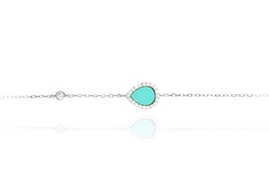 BF-6/S - Turquoise Tear Shaped Stone on a Chain Bracelet