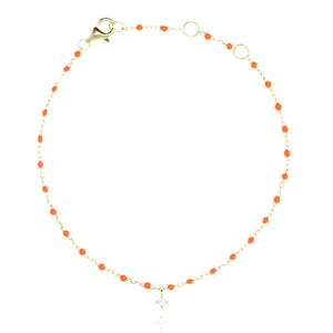 BG-10/GO - Chain and Bead Bracelet with Hanging CZ (new colour)