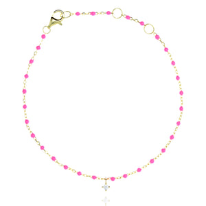 BG-10/GP - Chain and Bead Bracelet with Hanging CZ (new colour)