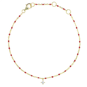 BG-10/GR - Bead and Chain Bracelet with hanging CZ