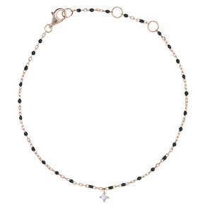 BG-10/RB - Chain and Bead Bracelet with hanging CZ