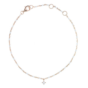 BG-10/RW - Chain and Bead Bracelet with hanging CZ
