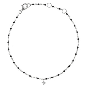 BG-10/S/B - Bead and Chain Bracelet with Hanging CZ