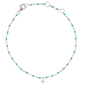 BG-10/ST - Bead and Chain Bracelet with Hanging CZ