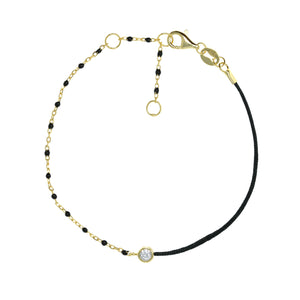BG-11/G/BK - String and Chain Bracelet with Small Black Beads