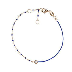 BG-11/R/BL - String and Chain Bracelet with Small Blue Beads