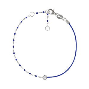 BG-11/S/BL - String and Chain Bracelet with Small Blue Beads