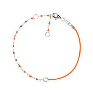 BG-11/S/OR - String and Chain Bracelet with Small Orange Beads