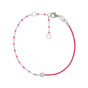 BG-11/S/PK - String and Chain Bracelet with small Pink Beads