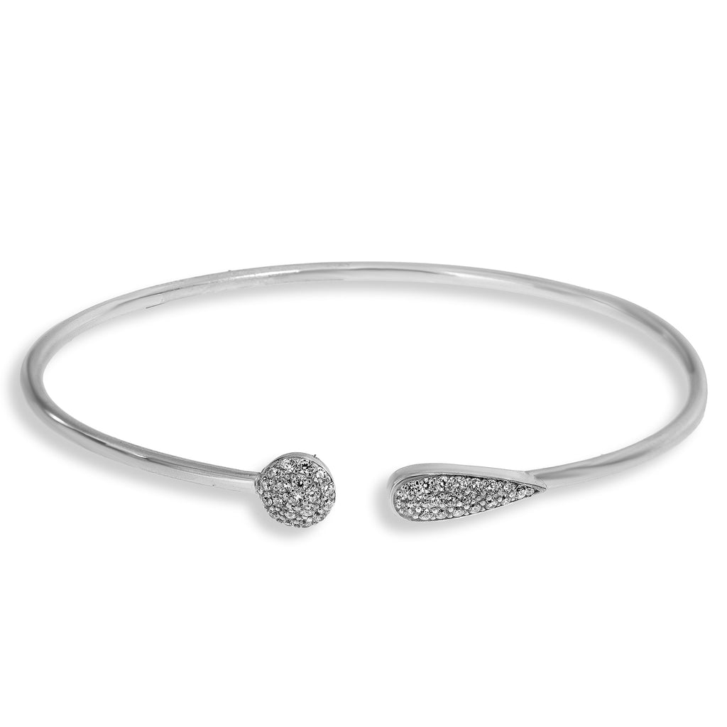 BH-4/S - Bangle Bracelet with CZ Circle and Teardrop Decoration