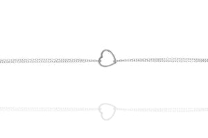 BK-48/S - Double Strand Chain Bracelet with Heart