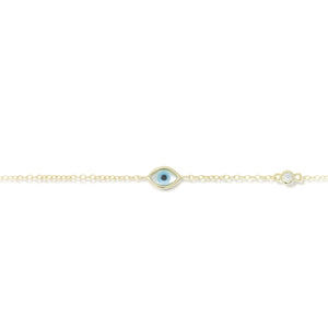 BK-57/G - Evil Eye Bracelet with Separate Cubic Zirconia Single Stone