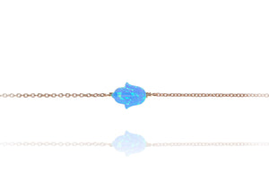 BN-510/RB - Chain Bracelet with a Blue Opal Hamsa Charm