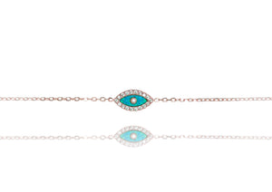 BN-513/ROB - Blue Opal Evil Eye Chain Bracelet