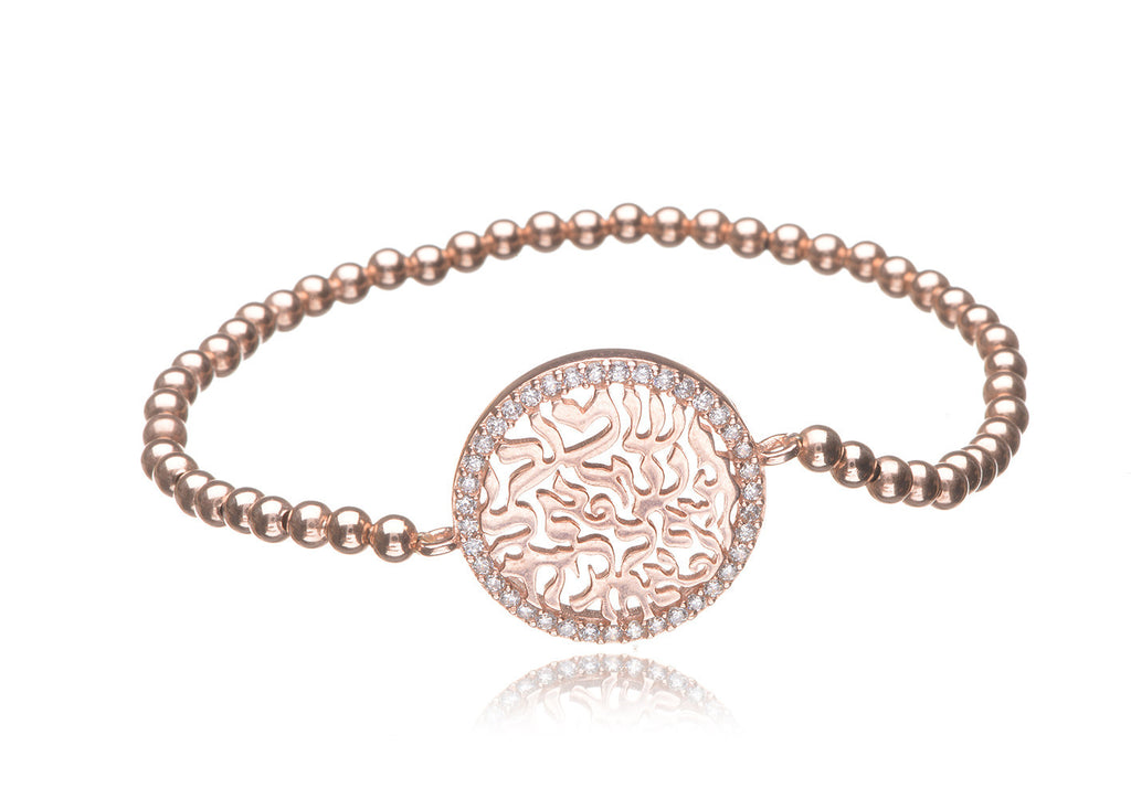 BS-100/EB/RF - Rose filled elastic bobble bead bracelet with circle of life.