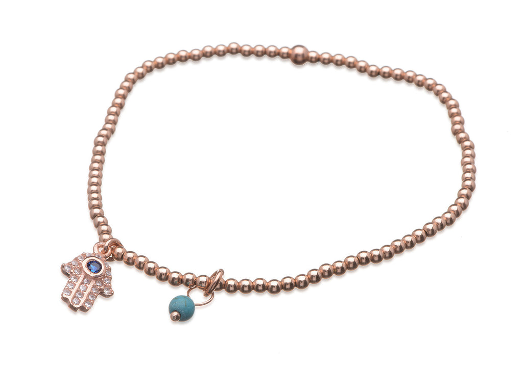 BS-202/EB/RF - Rose gold elastic bobble bead bracelet with hanging pave hamsa and hanging bead.