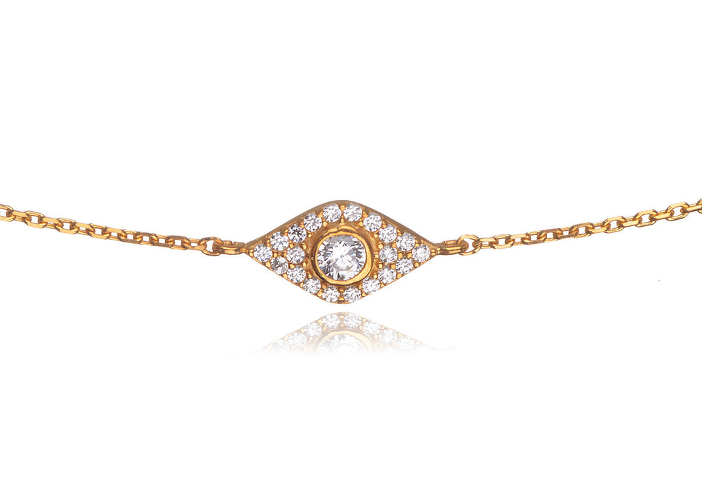 BS-435/CH/G - Pave evil eye bracelet with cubic zirconia center stone.