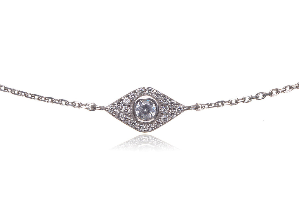 BS-435/CH/S - Sterling silver pave evil eye bracelet with cubic zirconia center stone.
