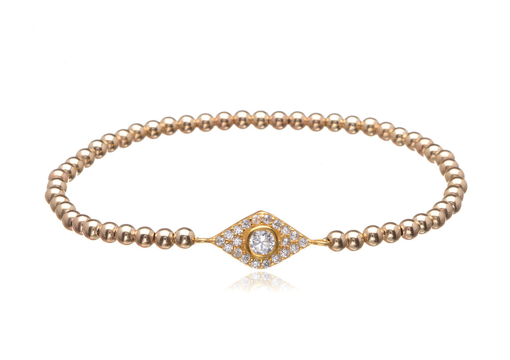 BS-435/EB/GF - Gold filled elastic bobble bead and pave evil eye bracelet