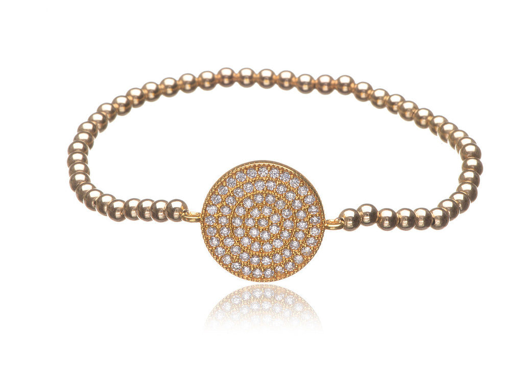 BS-651/EB/GF - Gold Filled Elastic Bobble Bead Pave Disk Bracelet