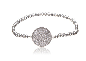 BS-651/EB/S - Sterling Silver Elastic Bobble Bracelet with Pave Disk