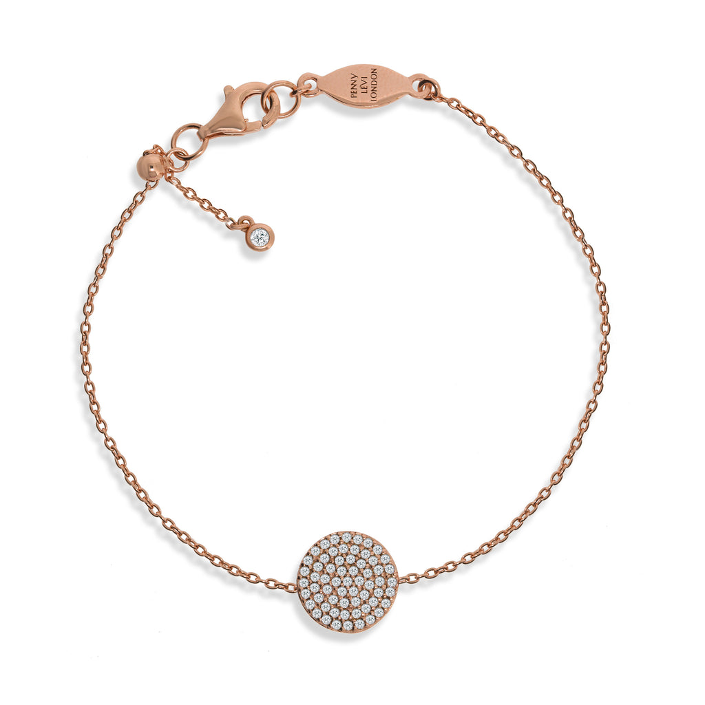 BT-4/R - Chain Bracelet with pave disc