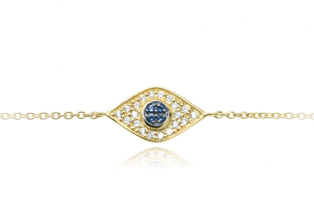 BT-202/G - Evil Eye Chain Bracelet set in CZ with blue center stones