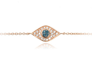 BT-202/R - Evil Eye Chain Bracelet set in CZ with blue center stones
