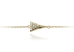 BT-8/G - Chain Bracelet with 3D triangle element with CZ decoration