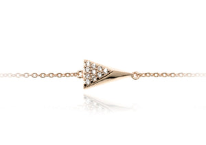 BT-8/R - Chain Bracelet with 3D triangle element with CZ decoration