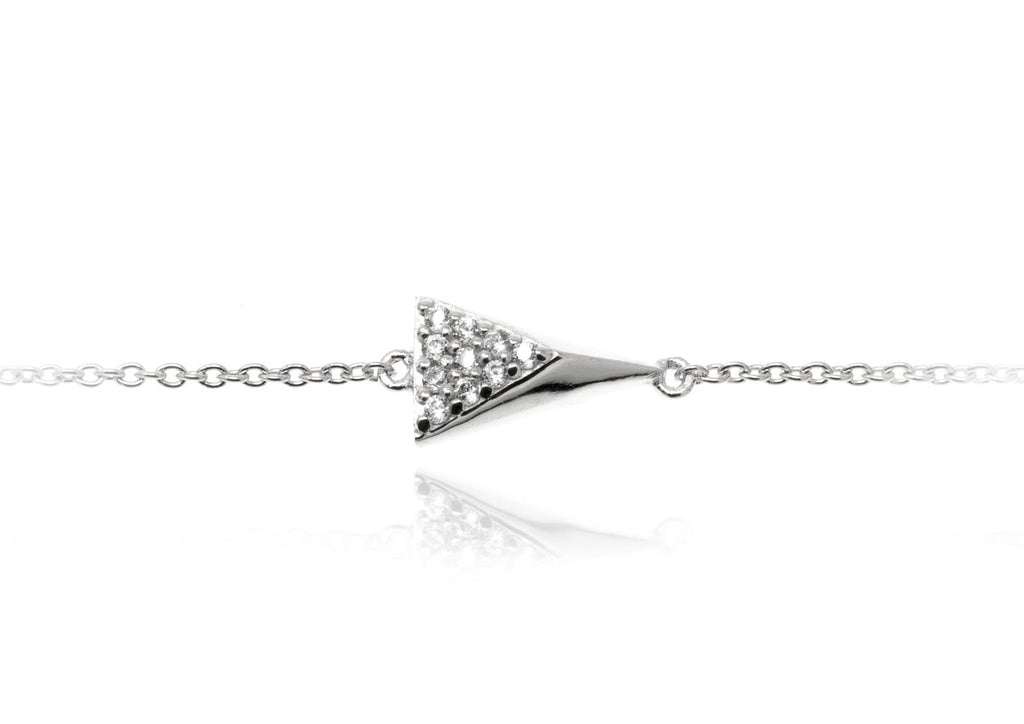BT-8/S - Chain Bracelet with 3D triangle element with CZ decoration
