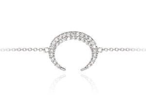 BT-9/S - Sterling Silver Pave Crescent Chain Bracelet