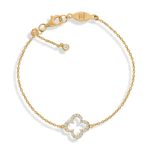 BT-1/G - Adjustable Chain Bracelet with Clover Charm and CZ Decoration