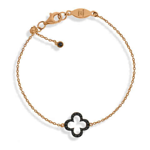 BT-1/R/BL - Adjustable Bracelet, clover charm CZ decoration. Rose Gold with black stones. (NEW)