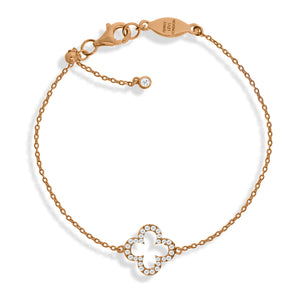 BT-1/R - Adjustable Chain Bracelet with Clover Charm and CZ Decoration