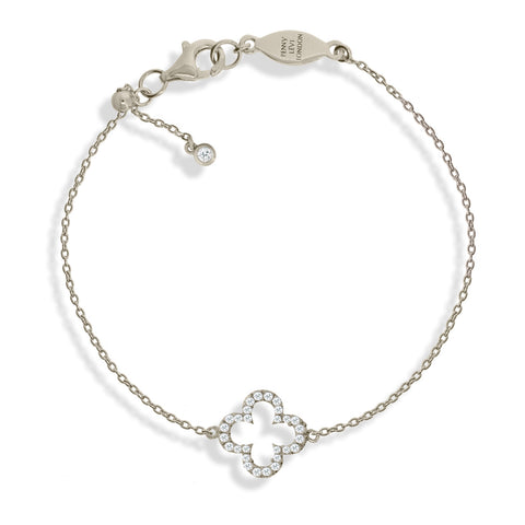 BT-1/S - Adjustable chain Bracelet with clover charm and CZ decoration. (NEW)