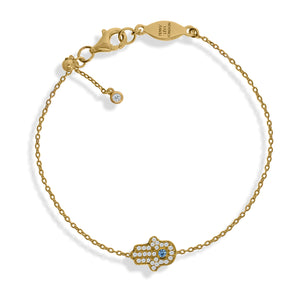 BT-201/G - Chain Bracelet with Pave Hamsa (Hand). Adjustable Size Slider