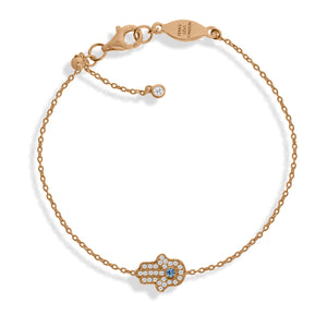 BT-201/R - Chain Bracelet with Pave Hamsa (Hand). Adjustable Size Slider