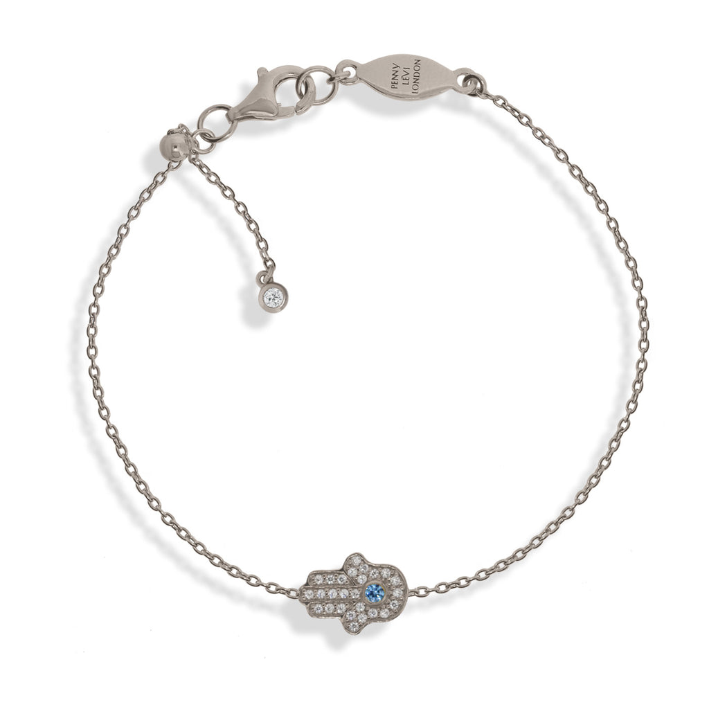 BT-201/S - Chain Bracelet with Pave Hamsa (Hand). Adjustable Size Slider