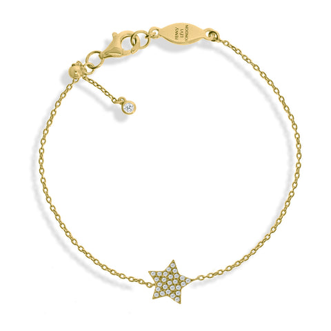 BT-52/G - Chain bracelet with pave star charm. Adjustable size slider.(NEW)