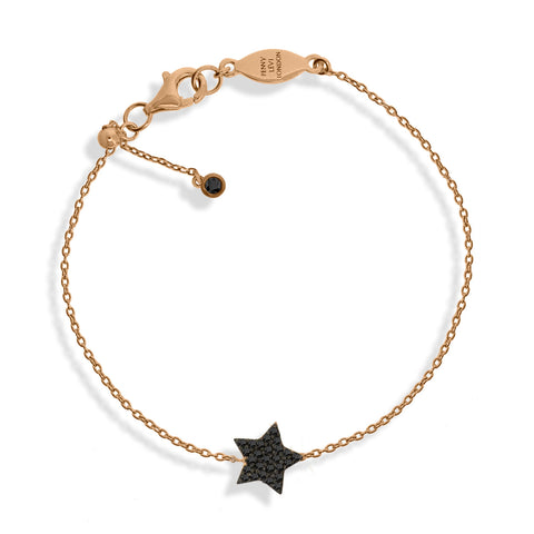 BT-52/R/BL - Chain bracelet with black pave star charm. Adjustable size slider.(NEW)