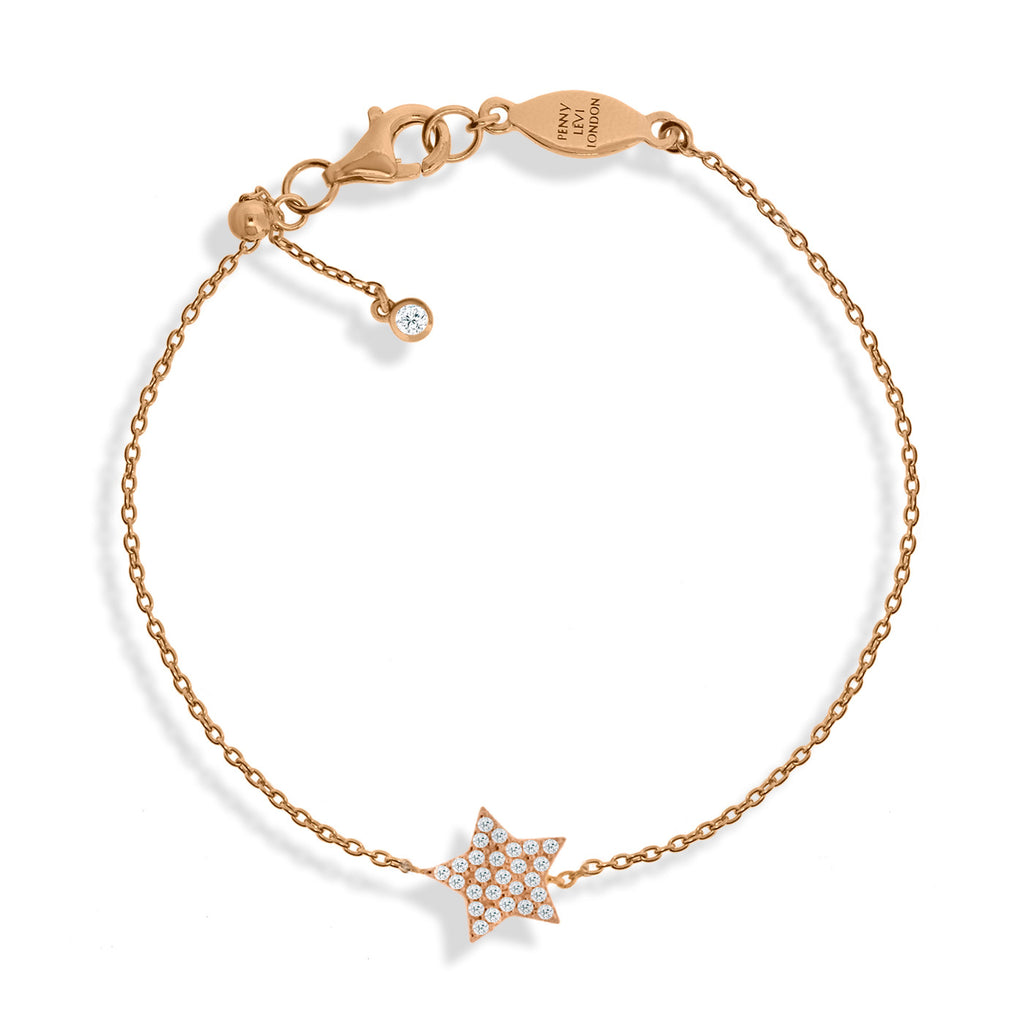 BT-52/R - Chain bracelet with pave star charm. Adjustable size slider.(NEW)